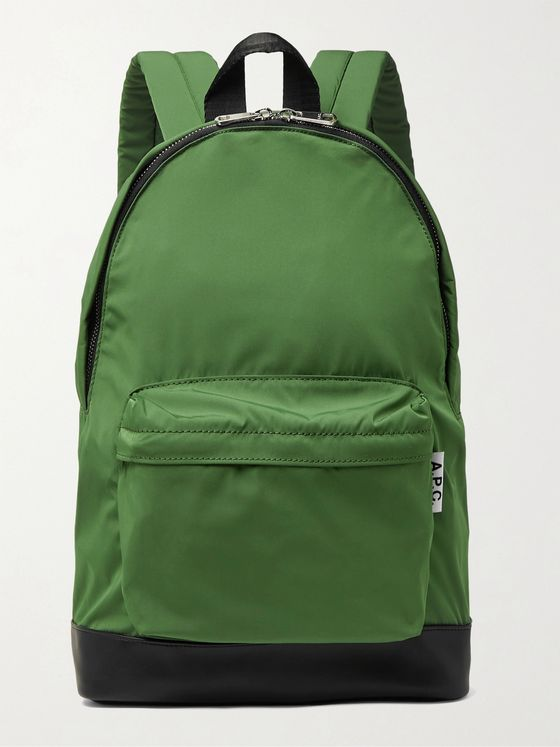 A.P.C. Leather-Trimmed Nylon Backpack