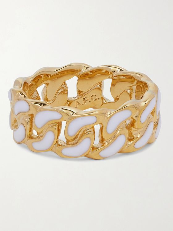 A.P.C. Gold-Tone Enamel Ring