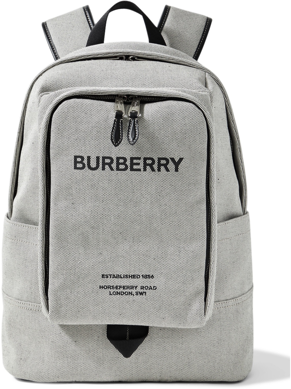 Burberry LOGO-PRINT LEATHER-TRIMMED CANVAS BACKPACK