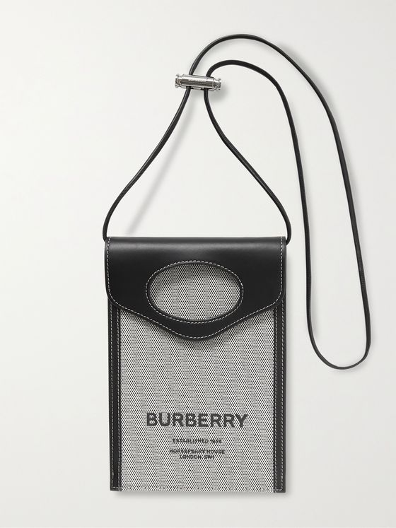 BURBERRY Leather-Trimmed Logo-Print Canvas Pouch with Lanyard