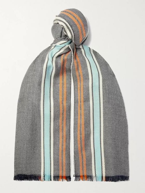 Johnstons of Elgin Striped Wool, Silk and Linen-Blend Scarf