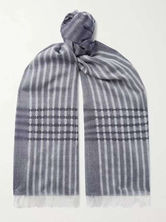 Johnstons of Elgin Fringed Checked Merino Wool Scarf