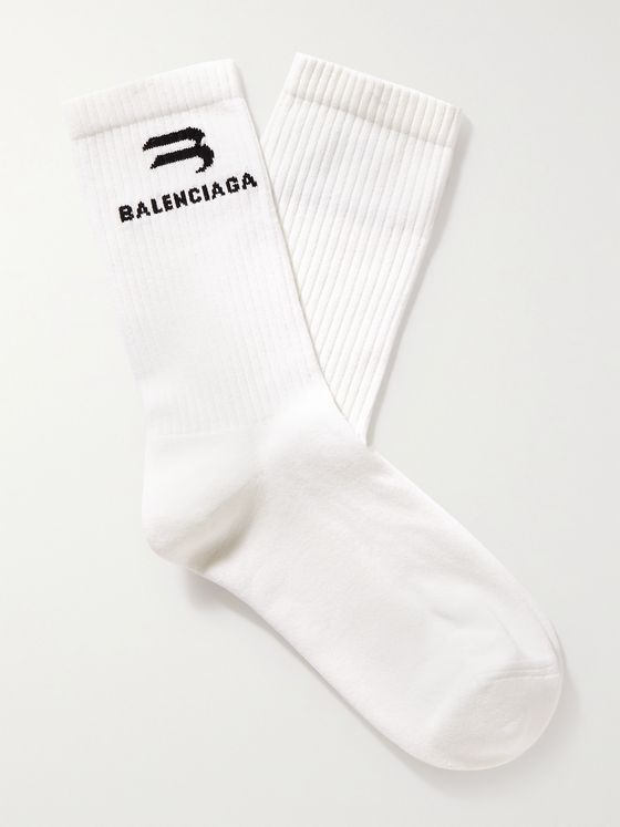 BALENCIAGA Glow-In-The-Dark Logo-Intarsia Cotton-Blend Socks