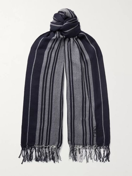 LOEWE Logo-Embroidered Fringed Striped Cashmere Scarf