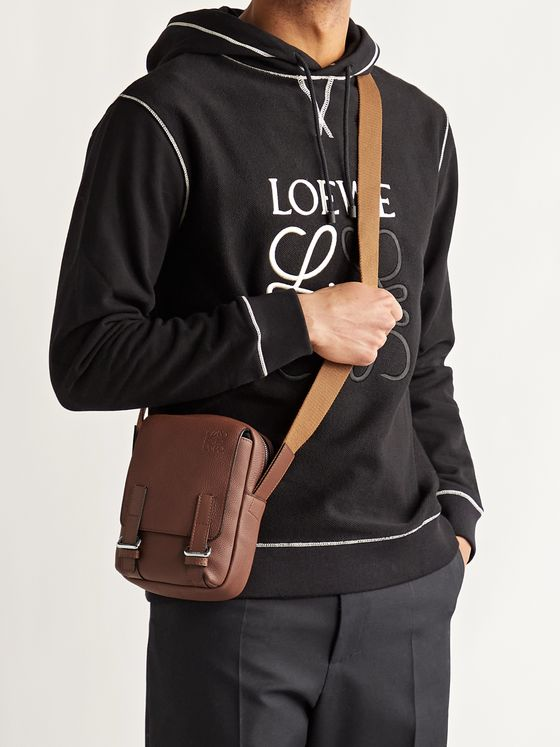 LOEWE Logo-Debossed Full-Grain Leather Messenger Bag