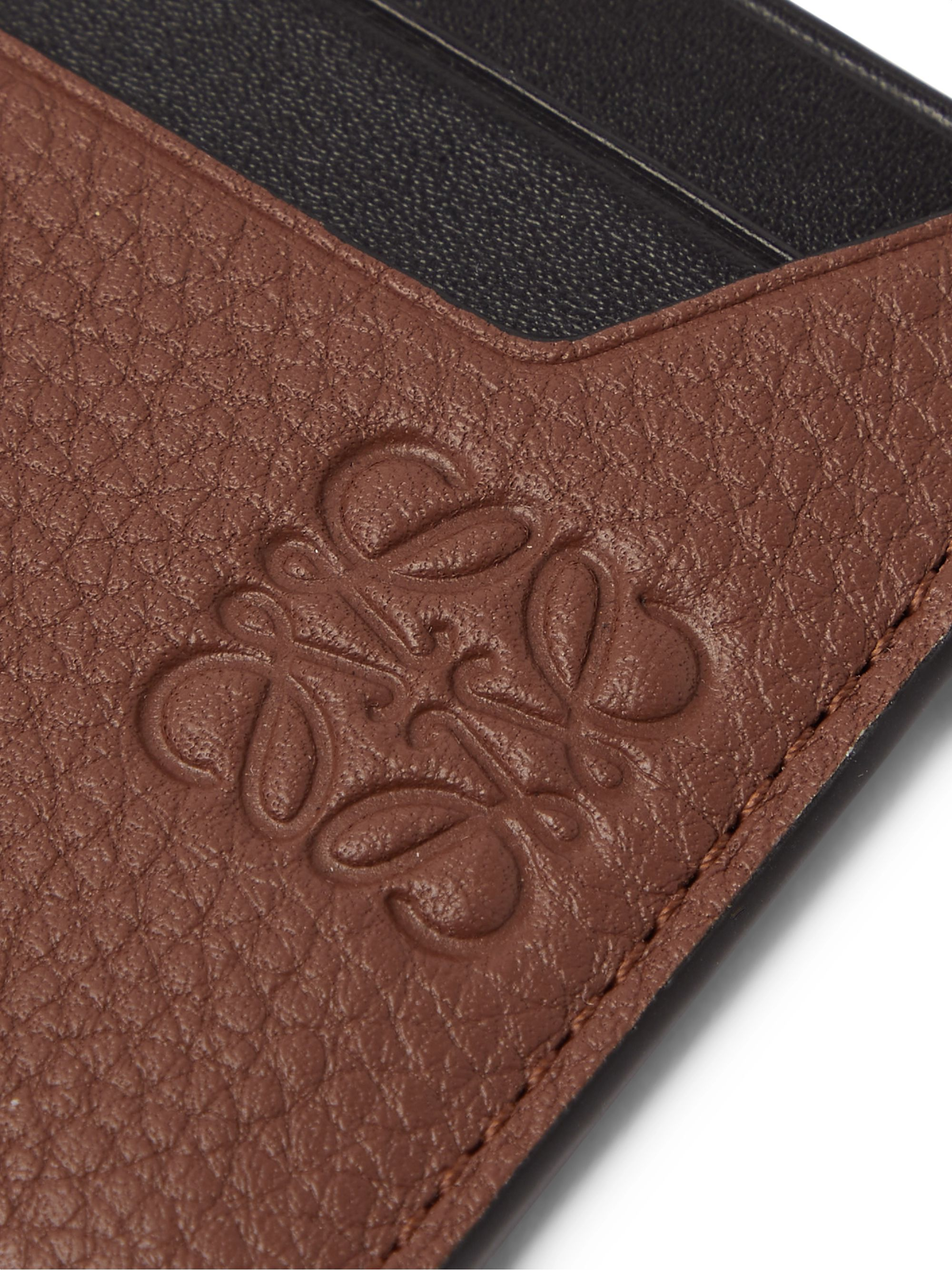 LOEWE Logo-Debossed Smooth and Full-Grain Leather Cardholder