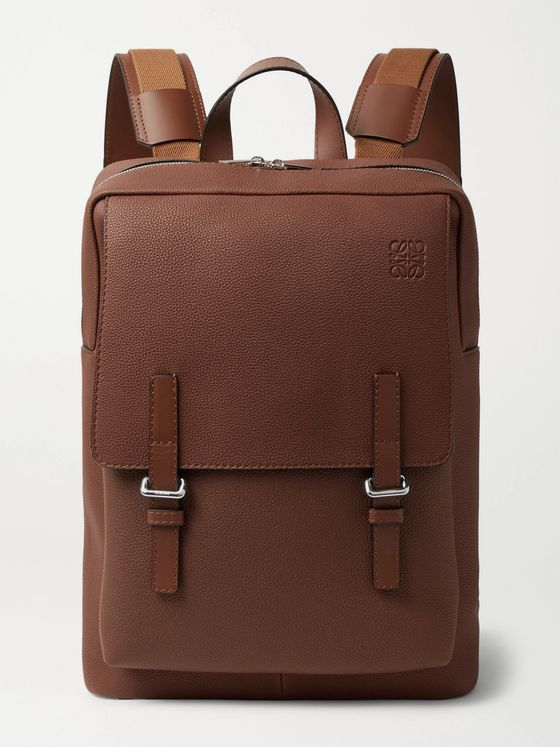 LOEWE Military Logo-Debossed Full-Grain Leather Backpack