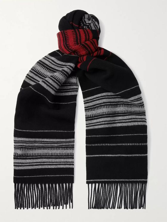 LOEWE Fringed Logo-Appliquéd Striped Wool, Cashmere and Silk-Blend Scarf