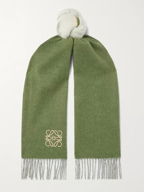 LOEWE Window Logo-Embroiderd Colour-Block Wool and Cashmere-Blend Scarf
