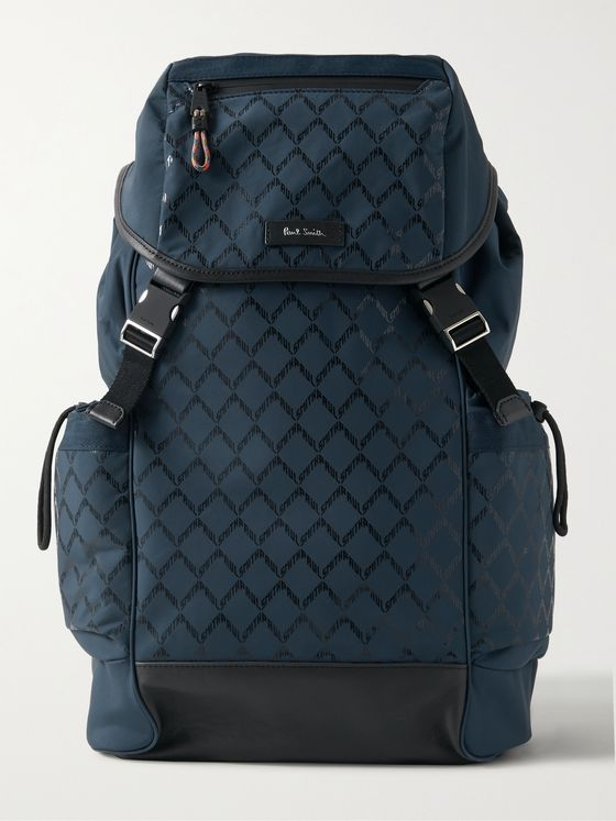 PAUL SMITH Leather-Trimmed Logo-Print Shell Backpack