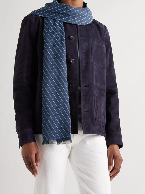 PAUL SMITH Cotton-Jacquard Scarf