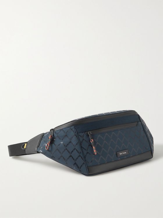 PAUL SMITH Leather-Trimmed Logo-Print Shell Belt Bag