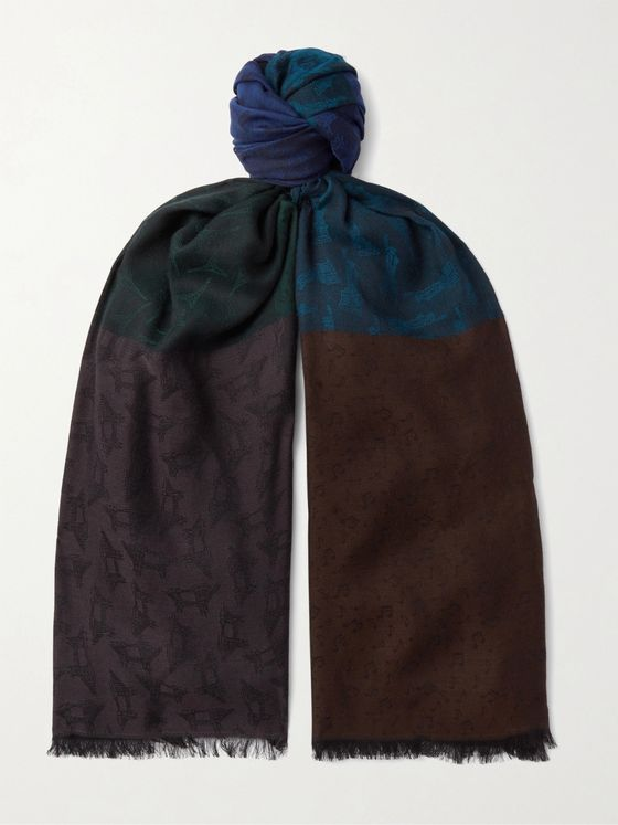 PAUL SMITH Fringed Panelled Jacquard Scarf