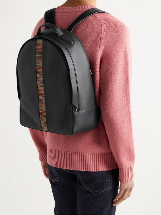 PAUL SMITH Striped Leather Backpack