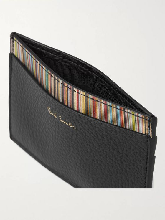 PAUL SMITH Stripe-Trimmed Pebble-Grain Leather Cardholder