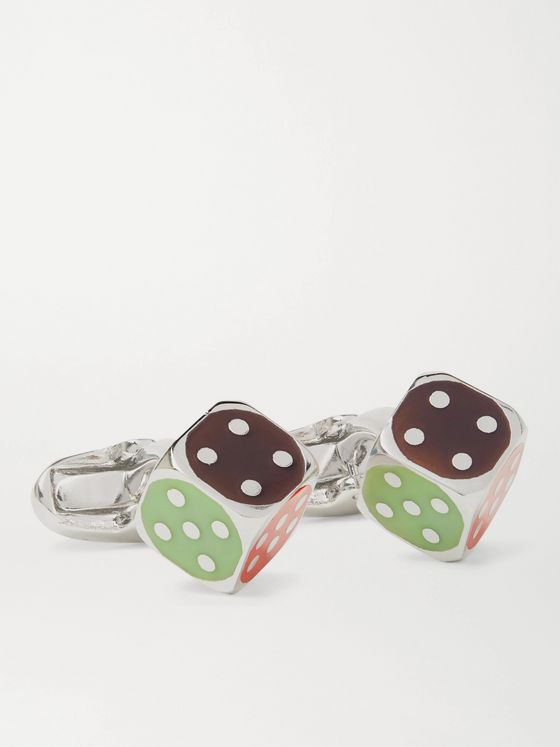 PAUL SMITH Dice Silver-Tone and Enamel Cufflinks