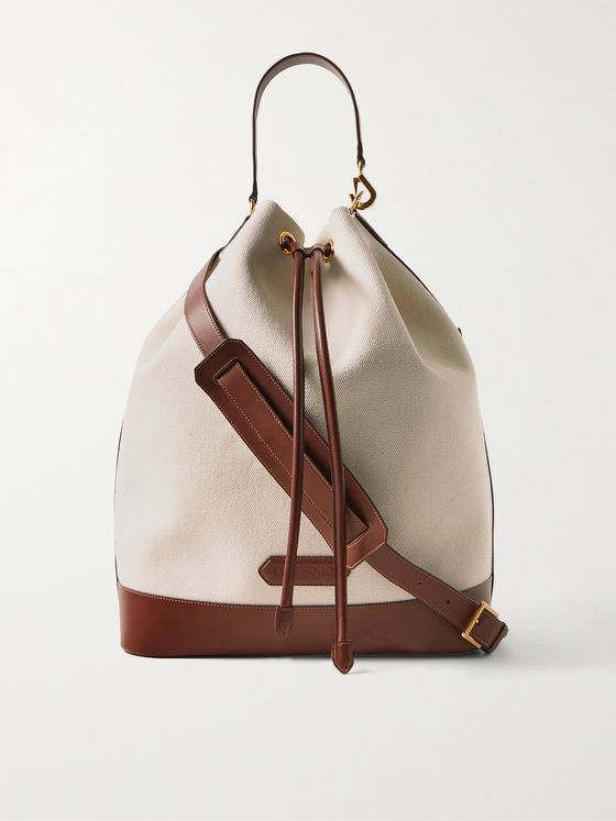 TOM FORD Leather-Trimmed Canvas Drawstring Bag