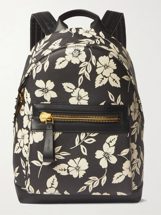 TOM FORD Floral-Print Full-Grain Leather Backpack