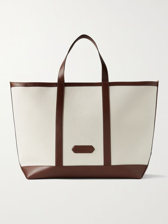 TOM FORD Leather-Trimmed Canvas Tote Bag