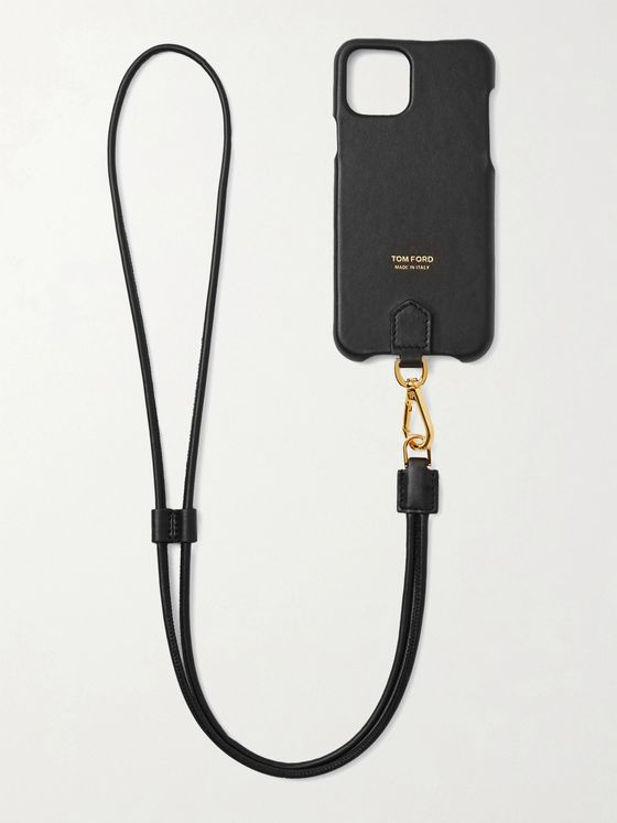 TOM FORD Logo-Print Leather iPhone 11 Pro Case with Lanyard