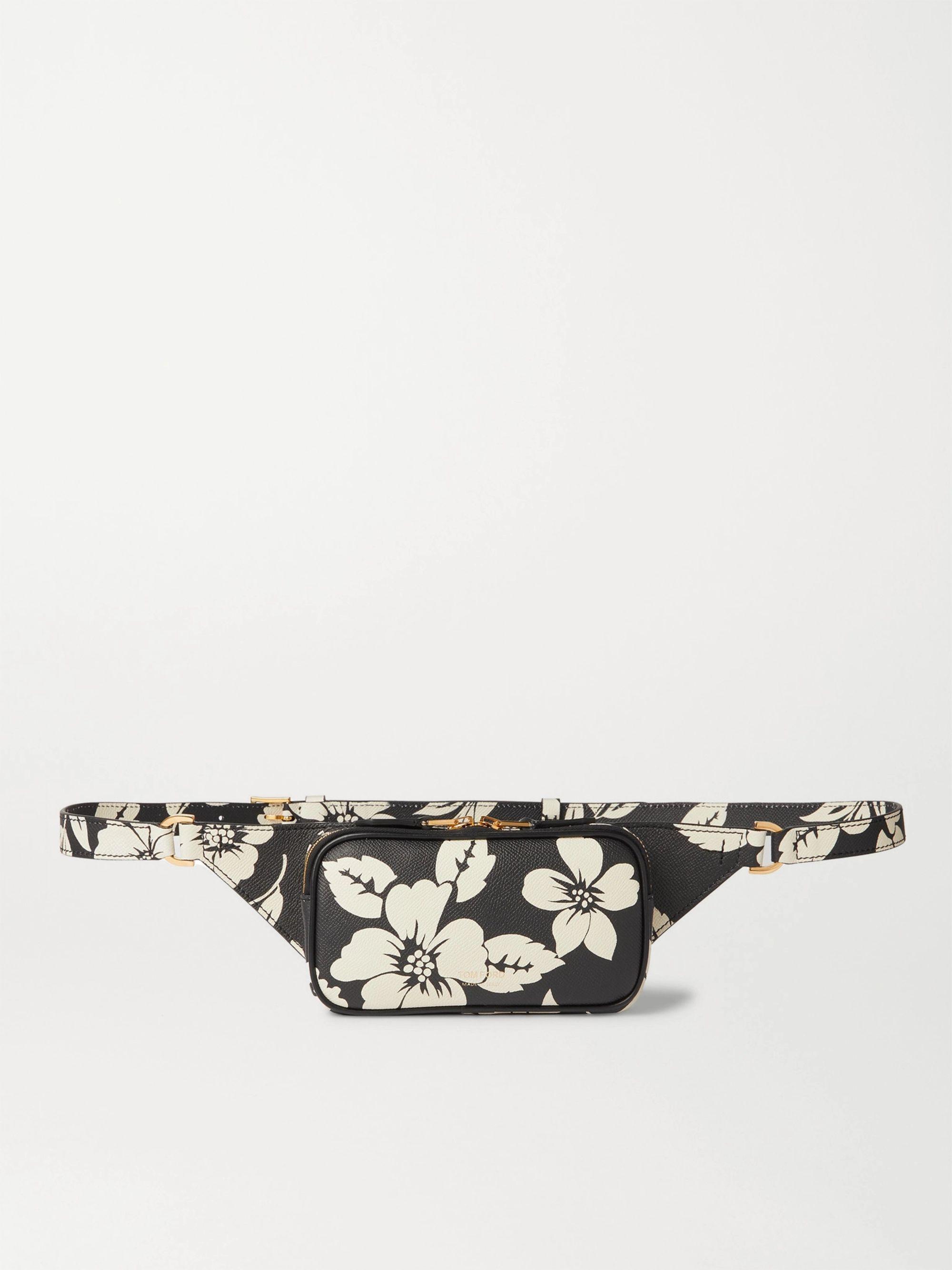 탐 포드 Tom Ford Floral-Print Full-Grain Leather Belt Bag,Black