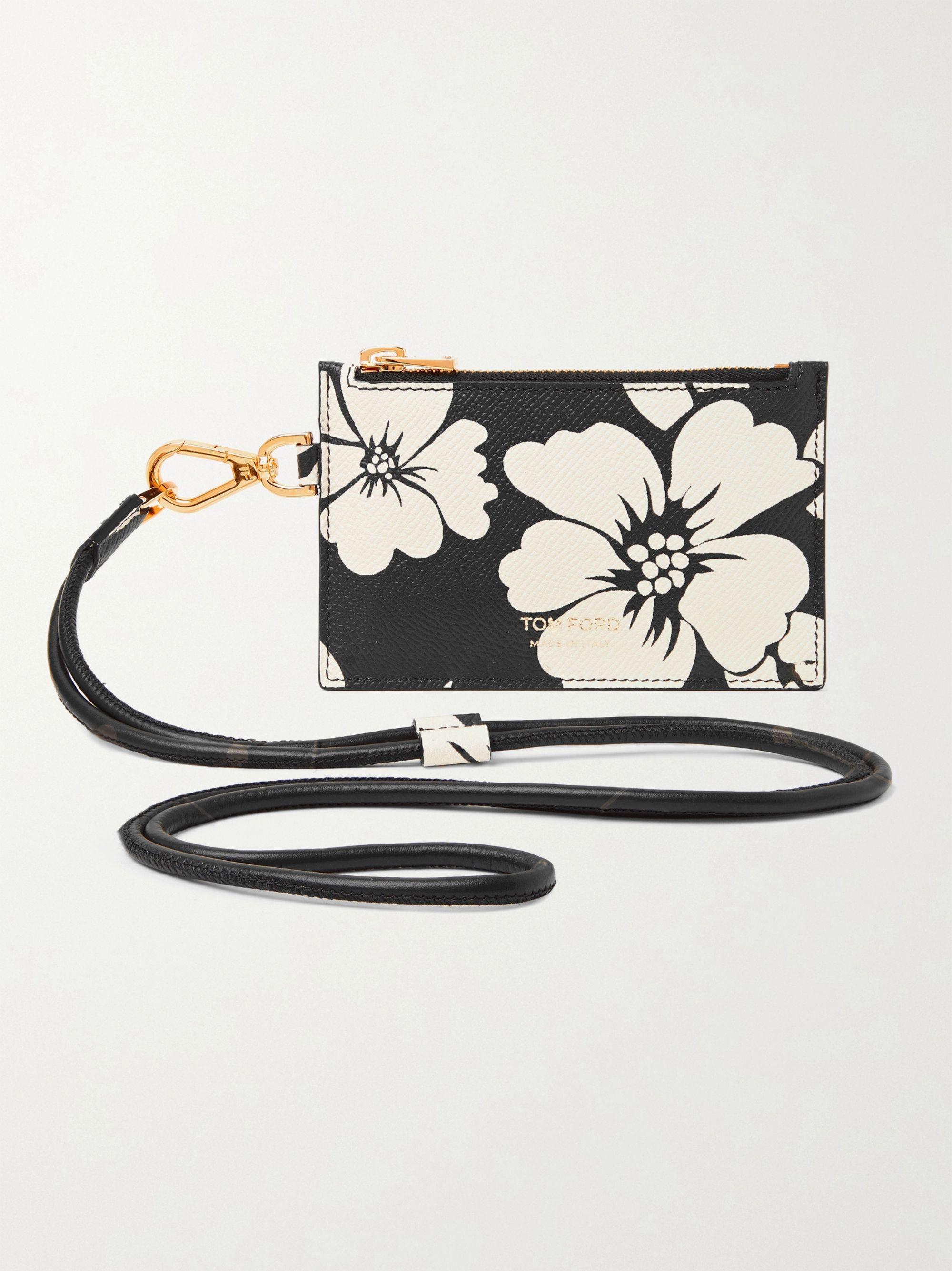 탐 포드 Tom Ford Floral-Print Full-Grain Leather Cardholder with Lanyard,Black
