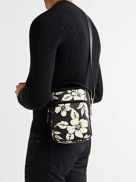 TOM FORD Floral-Print Full-Grain Leather Messenger Bag