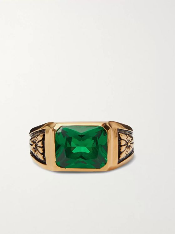 MAPLE Midnight Gold-Plated Emerald Signet Ring