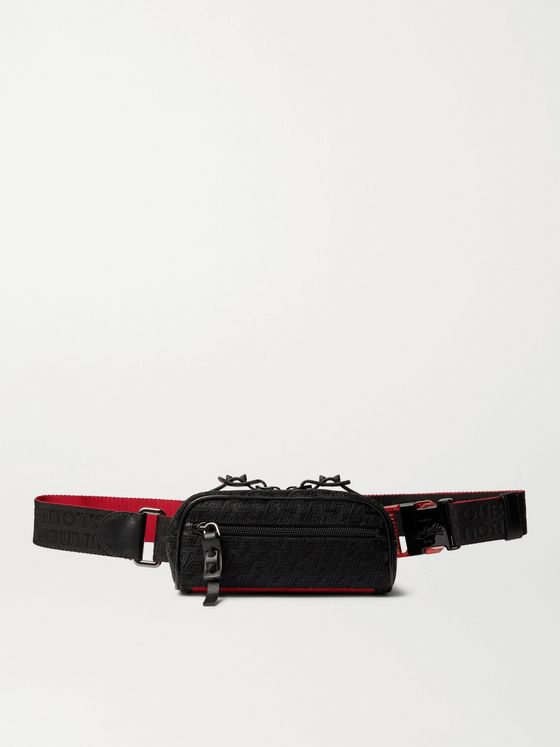 CHRISTIAN LOUBOUTIN Blaster Leather-Trimmed Logo-Jacquard Belt Bag