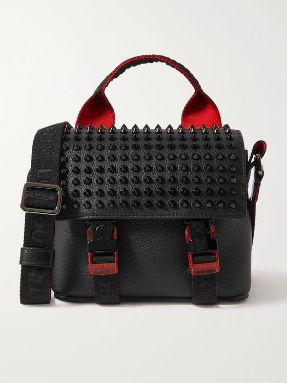 CHRISTIAN LOUBOUTIN Loubiclic Mini Spiked Full-Grain Leather Messenger Bag