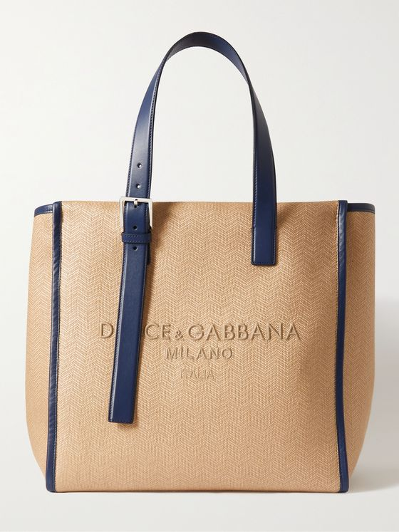 DOLCE & GABBANA Leather-Trimmed Logo-Embroidered Herringbone Canvas Tote Bag