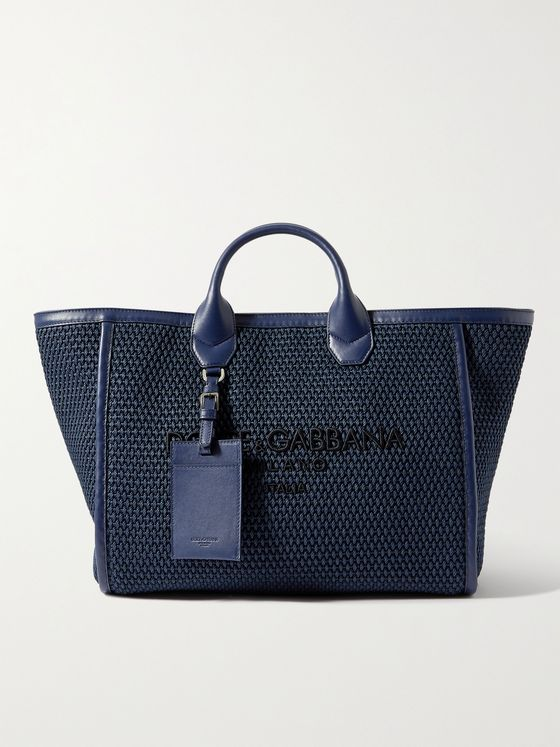 DOLCE & GABBANA Logo-Embroidered Leather-Trimmed Cotton-Canvas Tote Bag