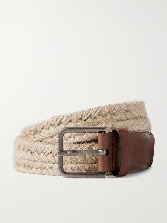 DOLCE & GABBANA 3cm Leather-Trimmed Woven Rope Belt