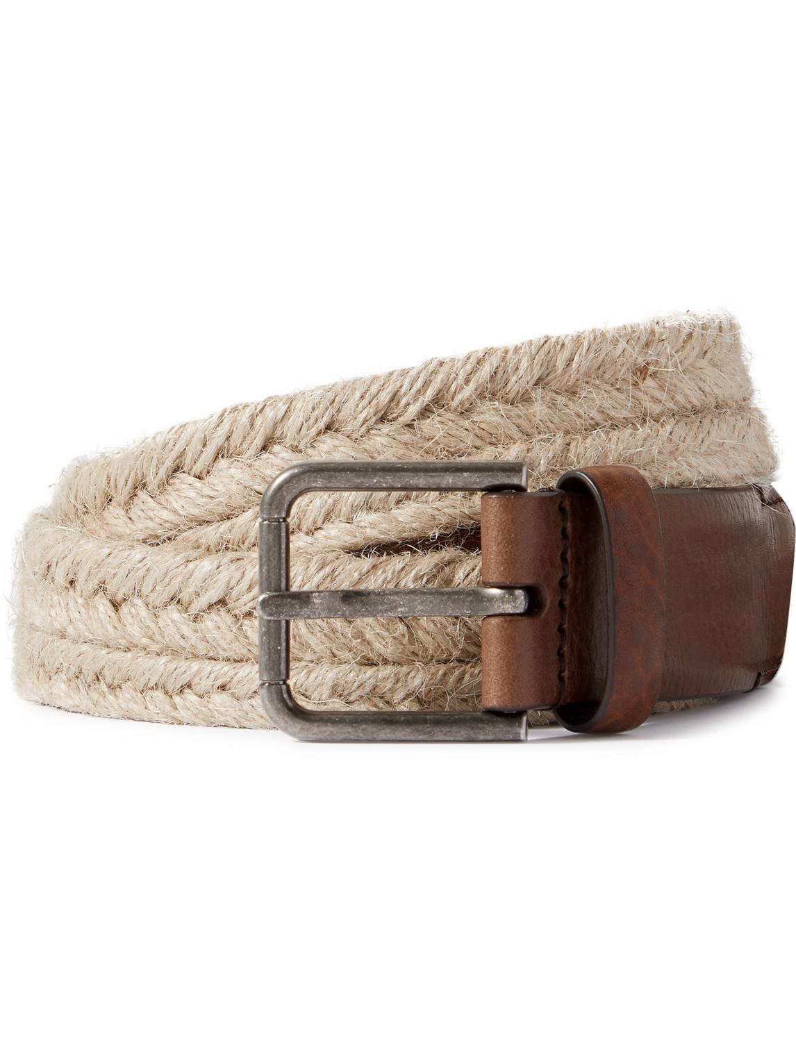 Dolce & Gabbana Belts 3CM LEATHER-TRIMMED WOVEN ROPE BELT
