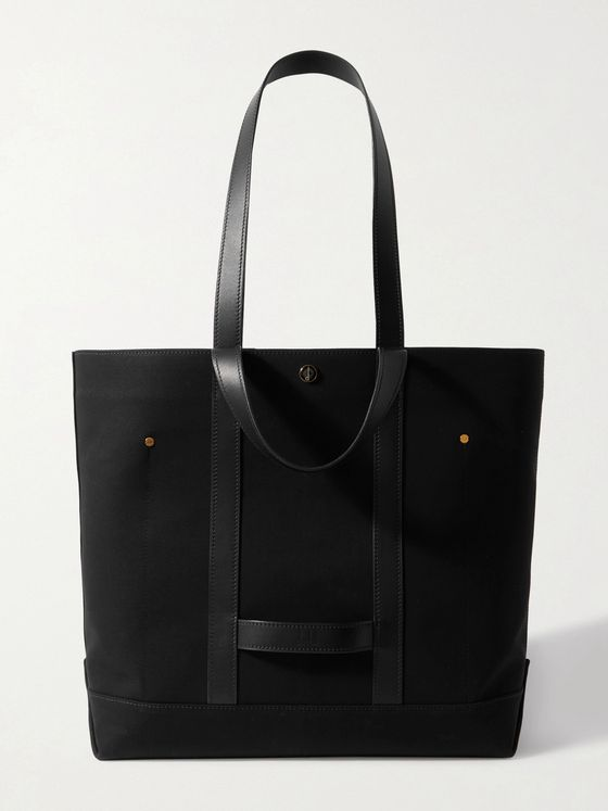 DUNHILL Faux Leather-Trimmed Cotton-Canvas Tote Bag