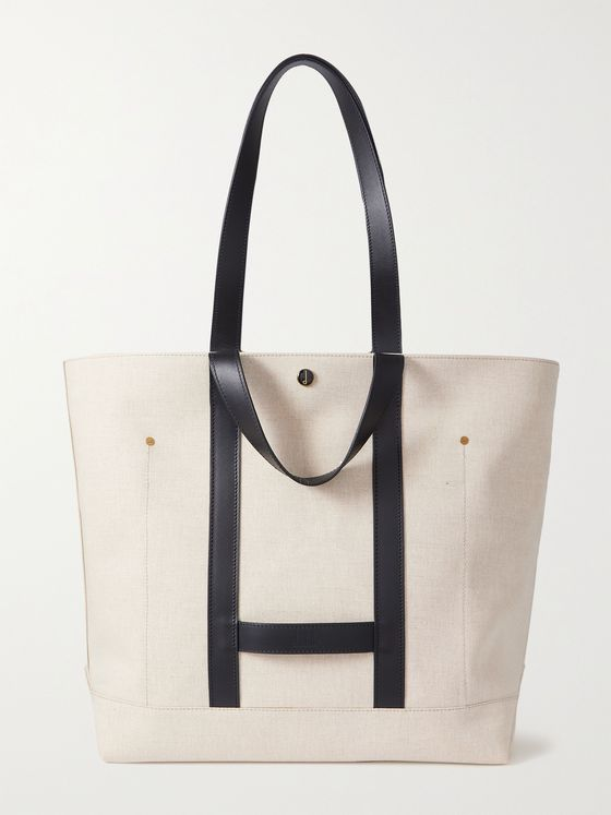 DUNHILL Leather-Trimmed Linen and Cotton-Blend Tote Bag