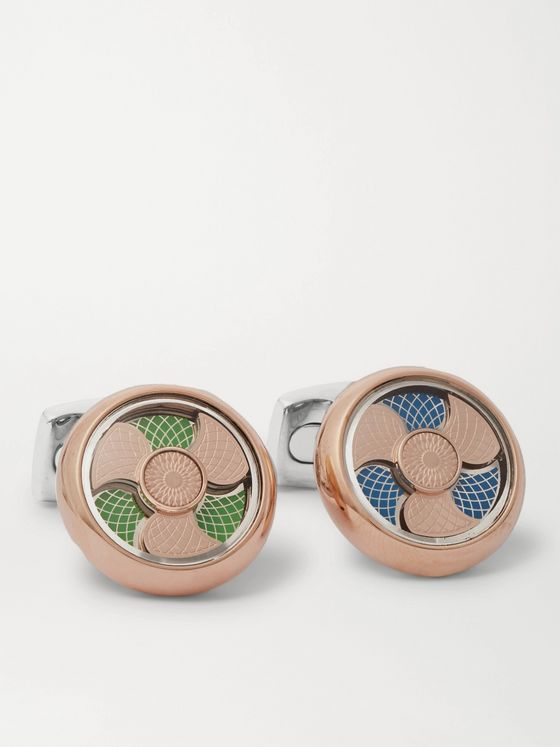 DEAKIN & FRANCIS Rose Gold-Plated, Sterling Silver and Enamel Cufflinks
