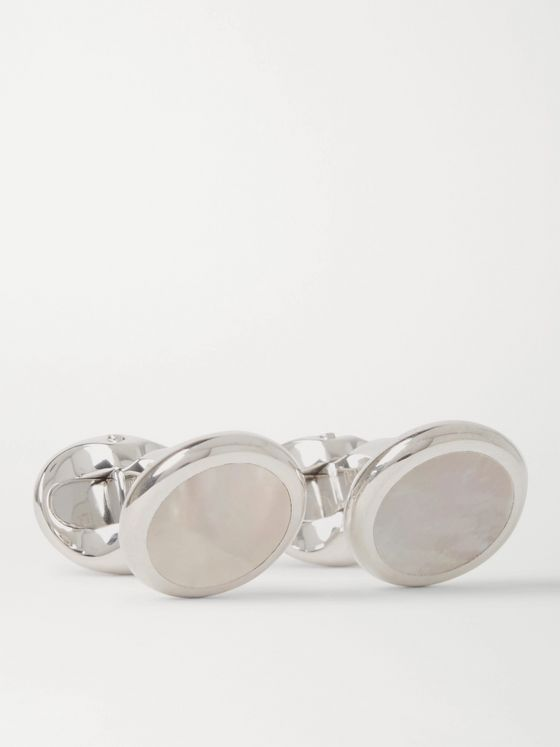 DEAKIN & FRANCIS Sterling Silver Mother-of-Pearl Cufflinks