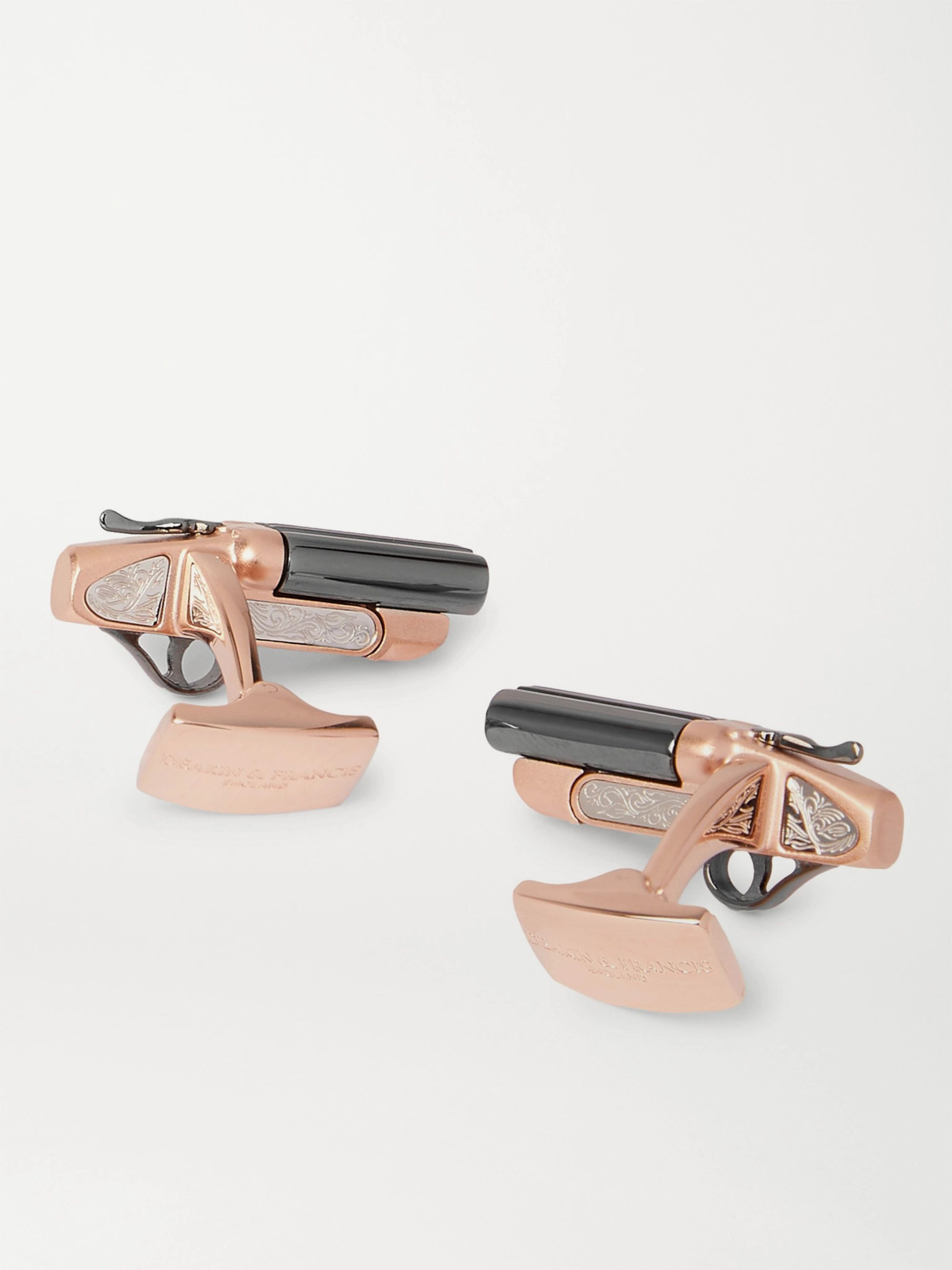 DEAKIN & FRANCIS Rhodium- and Rose Gold-Plated Sterling Silver Cufflinks