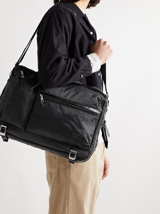 Master-Piece Lightning Leather-Trimmed Nylon-Twill Briefcase