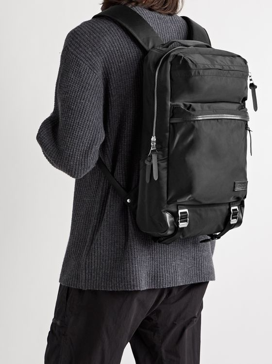 MASTER-PIECE Lightning Leather-Trimmed Nylon-Twill Backpack