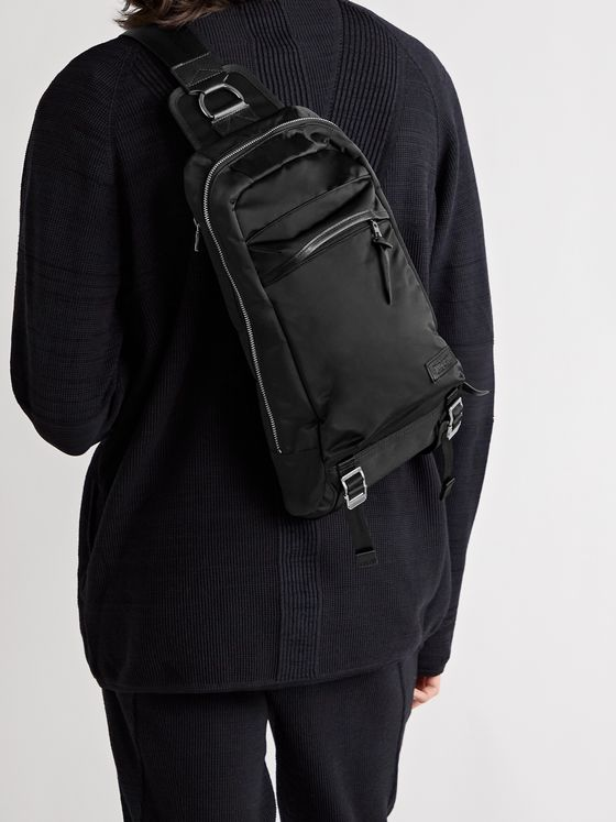 Master-Piece Lightning Leather-Trimmed Nylon-Twill Sling Backpack