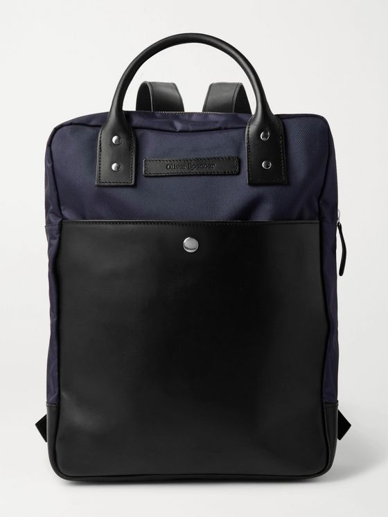 OLIVER SPENCER Leather-Trimmed Nylon Backpack