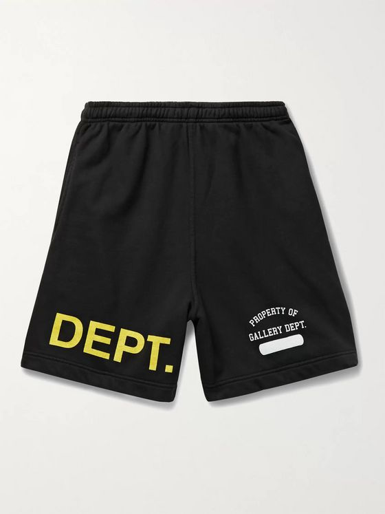 Gallery Dept. G.I. Wide-Leg Logo-Print Loopback Cotton-Jersey Shorts