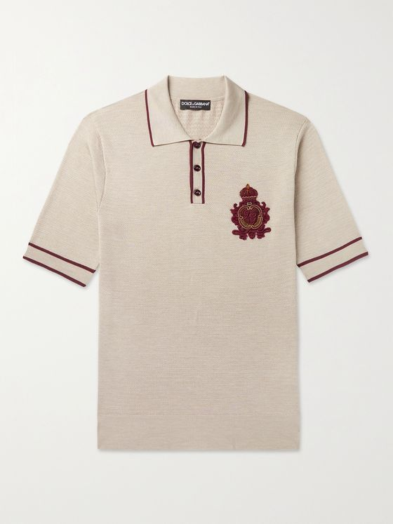 DOLCE & GABBANA Slim-Fit Appliquéd Contrast-Tipped Silk-Blend Polo Shirt