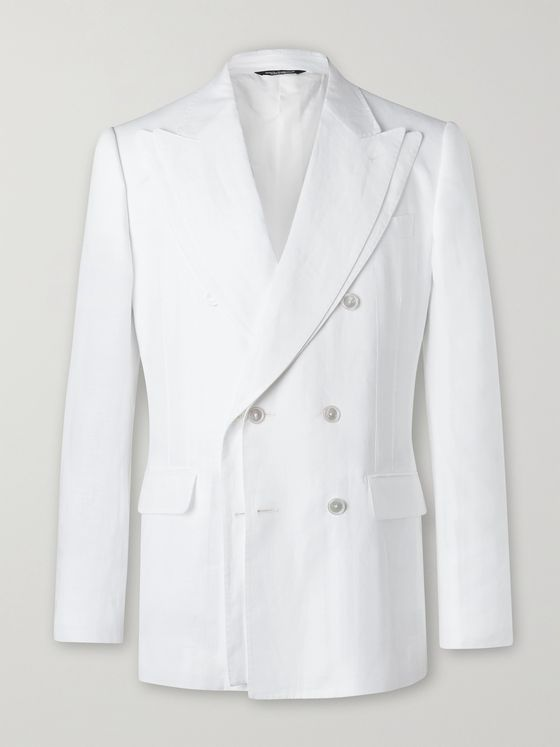 DOLCE & GABBANA Layered Double-Breasted Linen Blazer