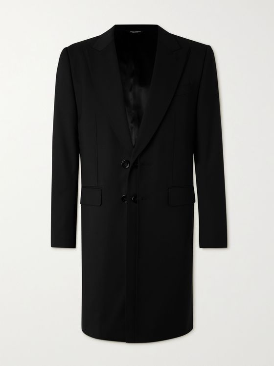 DOLCE & GABBANA Layered Wool-Blend Gabardine Coat