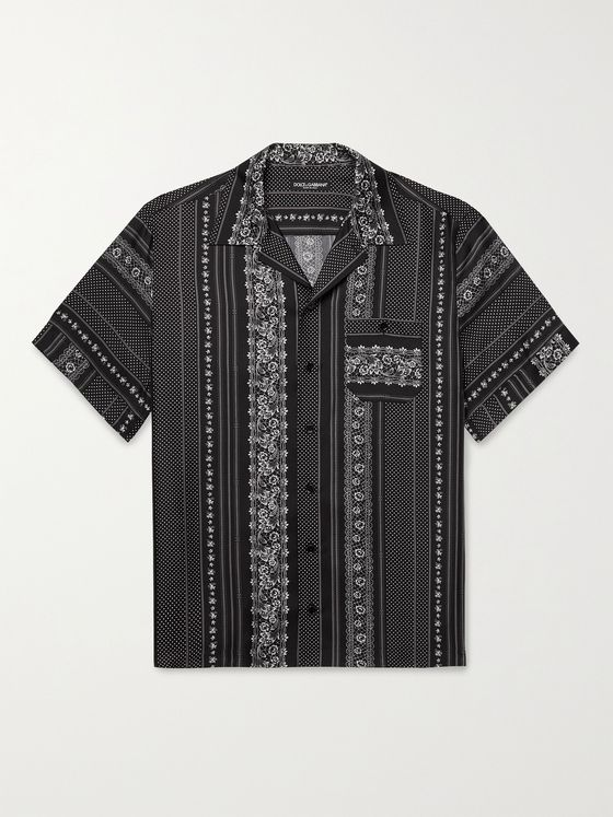 DOLCE & GABBANA Camp-Collar Printed Silk-Twill Shirt