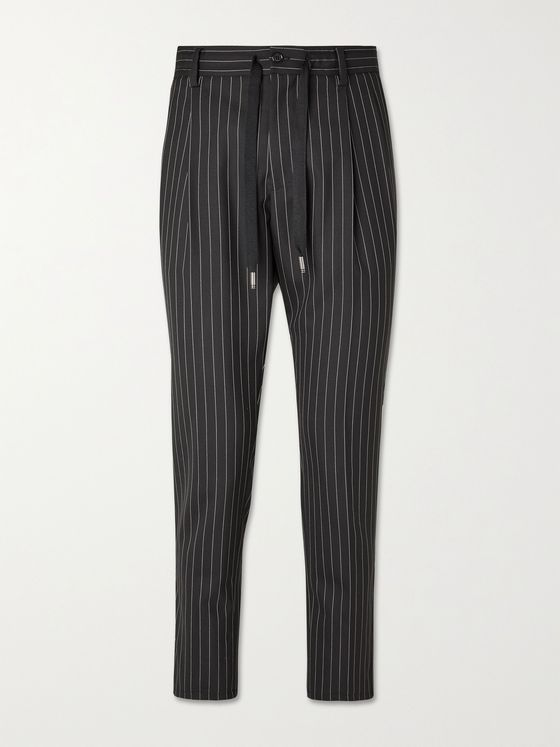 DOLCE & GABBANA Slim-Fit Cropped Tapered Pinstriped Wool Drawstring Trousers