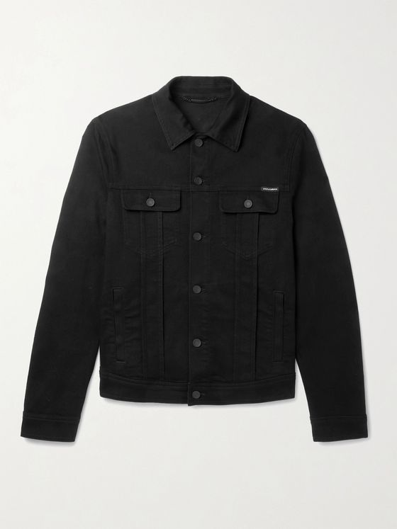 DOLCE & GABBANA Logo-Appliquéd Stretch-Denim Jacket